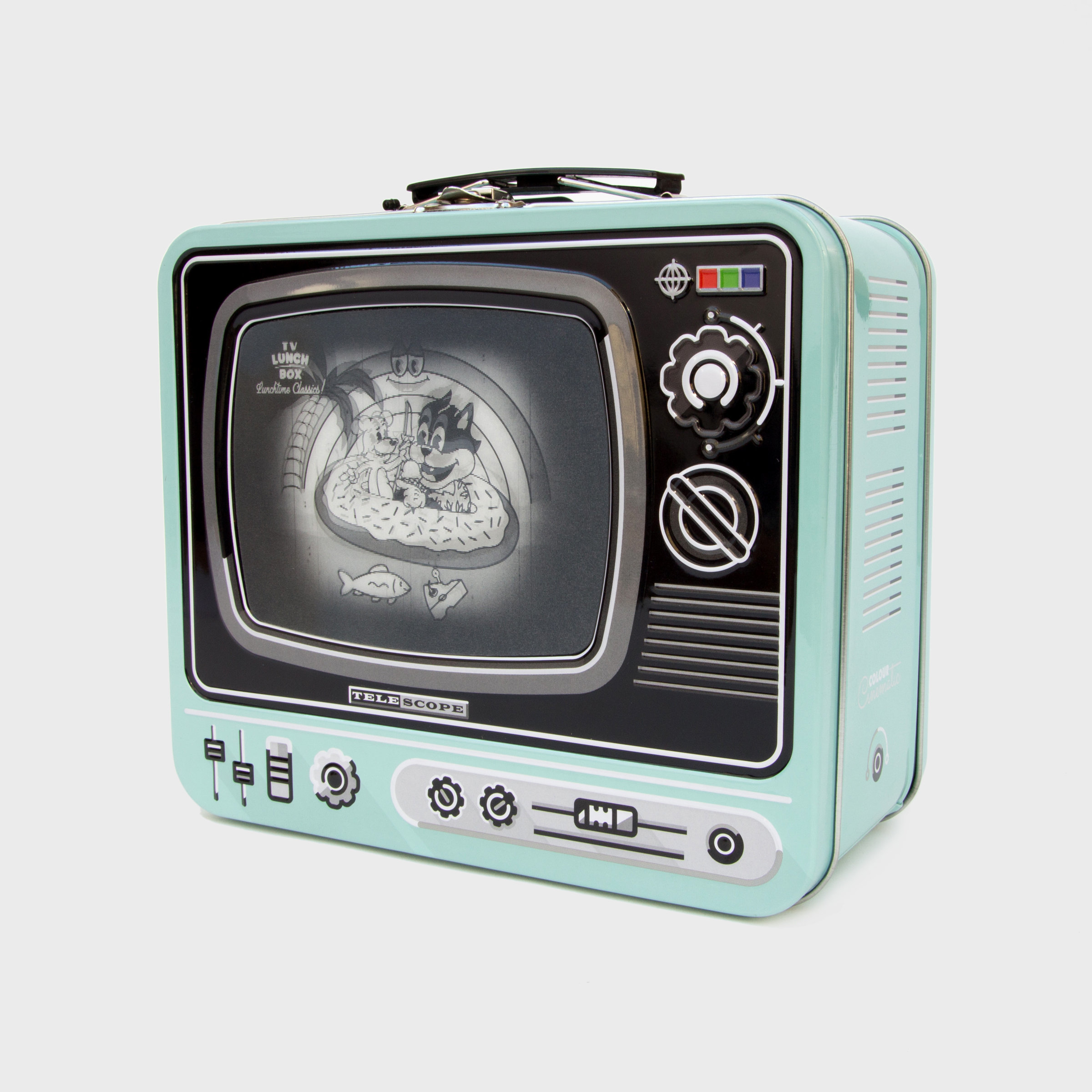 Tin TV lunchbox in blue with magic screen