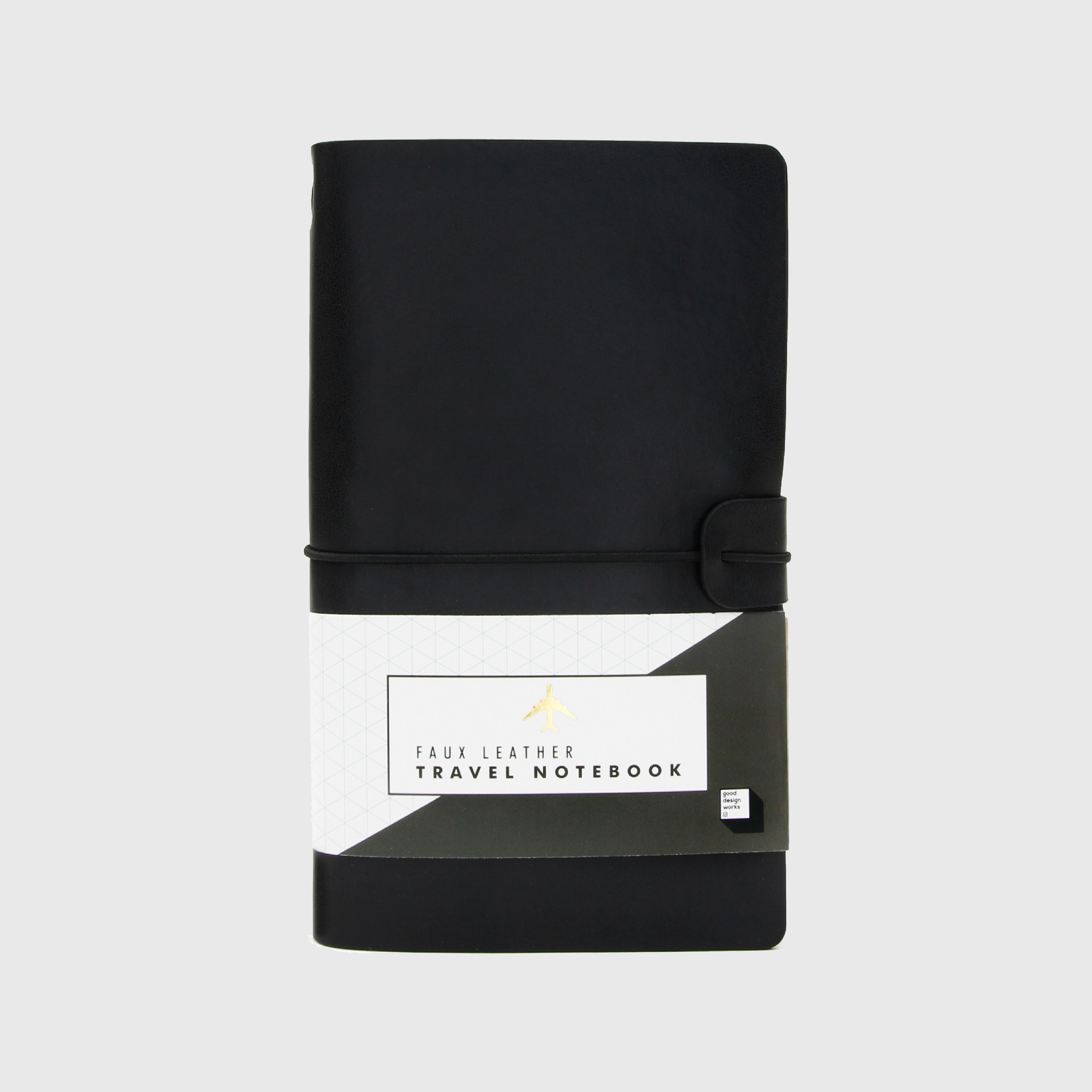 Black faux leather travel journal and passport holder
