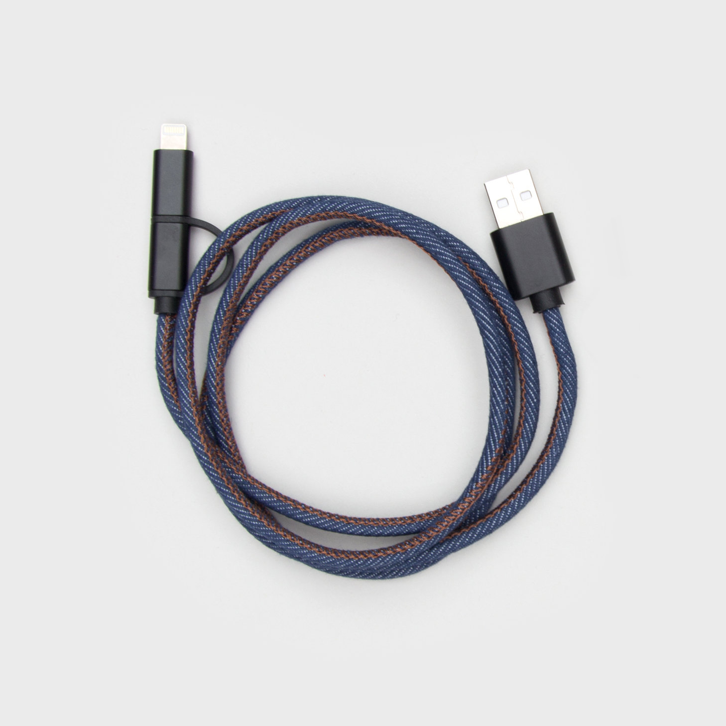 USB phone charging cable in denim