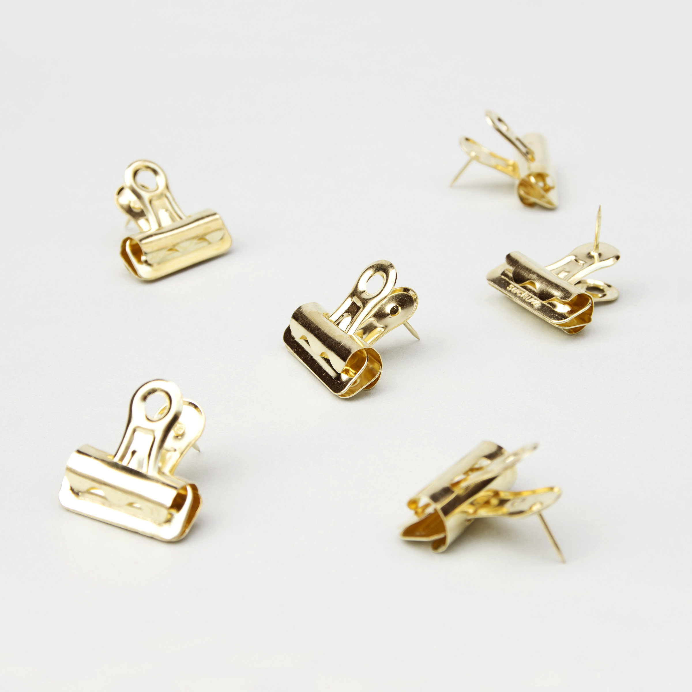 Bulldog push pin clips in gold