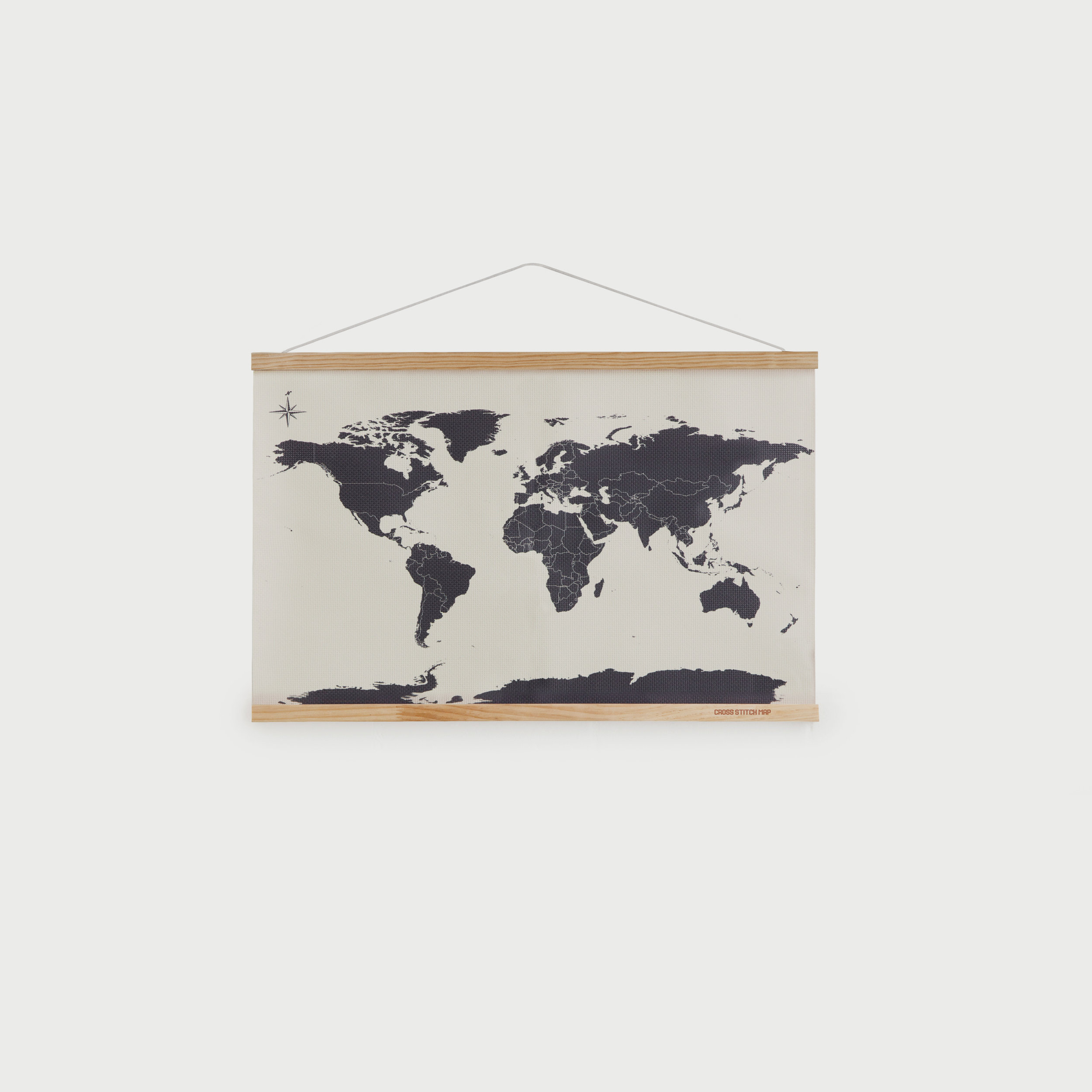 Mini cross stitch map with wooden frame
