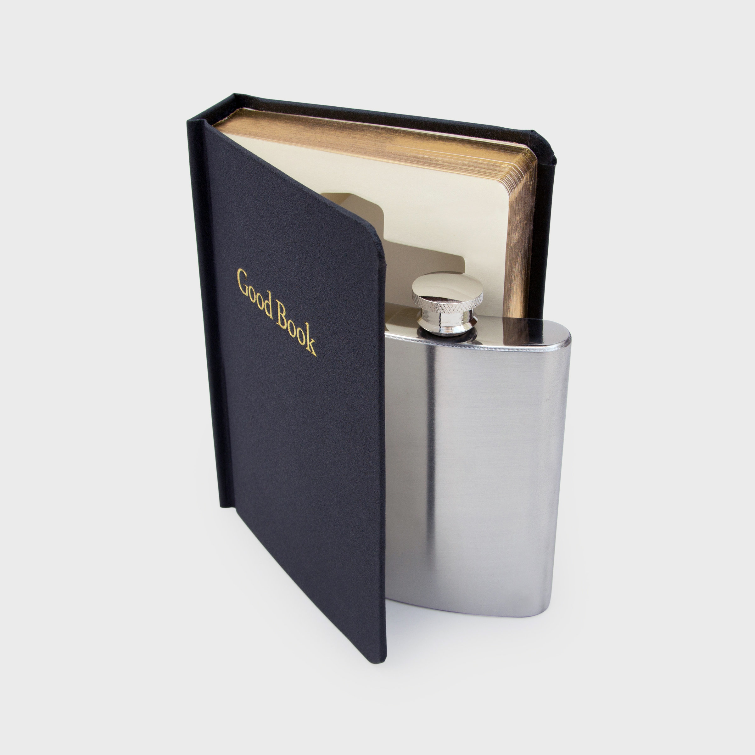 Simple black flask in a Good Book
