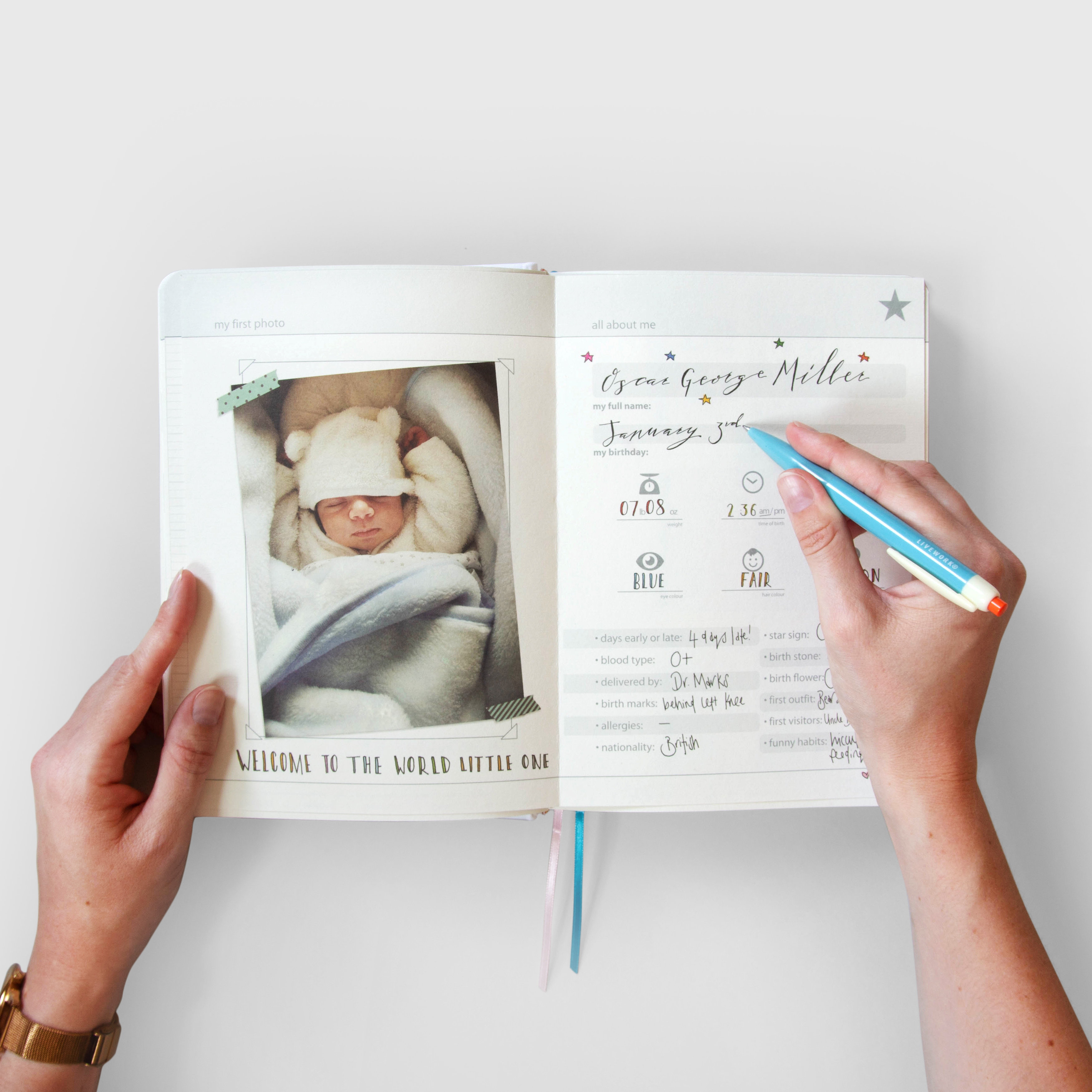 Writing in baby journal