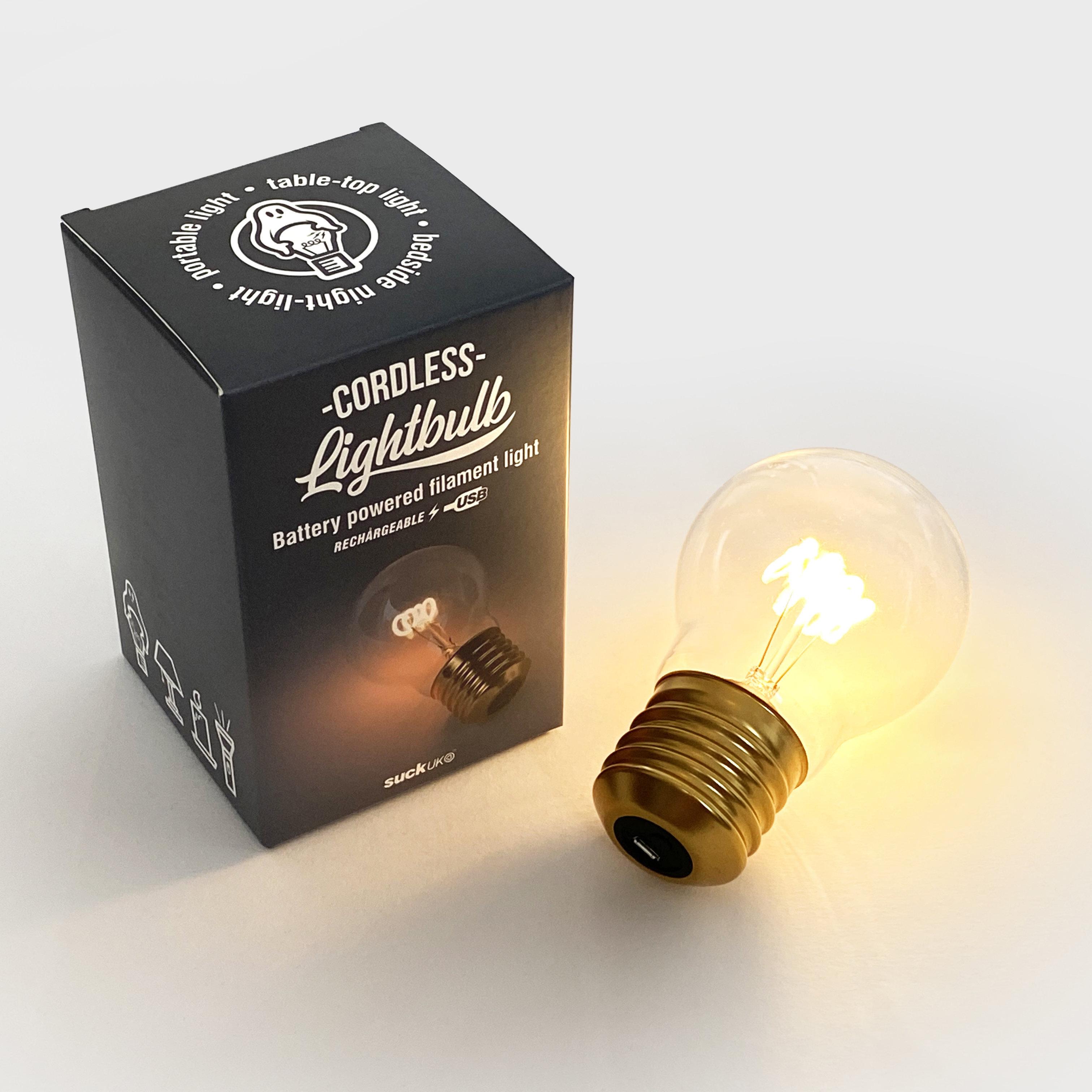 Cordless Light Bulb Battery Powered Filament Light