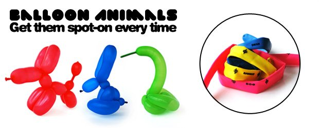 Balloon animals cheat instructions on each balloon