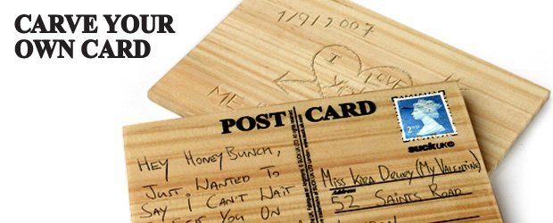 Wooden postcard - carve your personal message