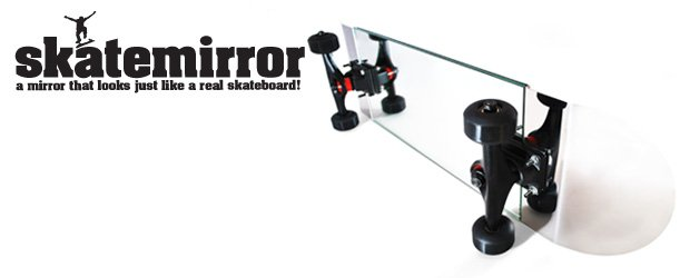 Steel and mirrored glass skateboard to hang on your wall