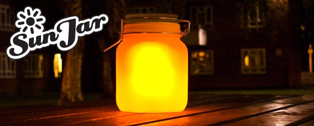 Glass jar stores sunlight for the night time