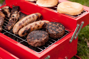 Grilling on a red toolbox