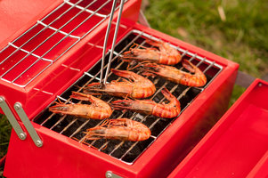 Prawns on portable BBQ