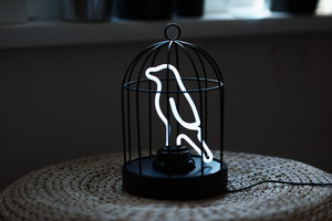 kitchen or study with this self-contained Bird in a Cage lamp