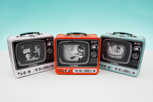 All 3 TV Lunchboxes in white, orange and blue