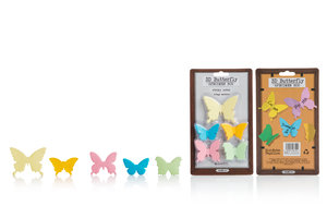 Novelty 3D butterfly shaped paper self-adhesive notes, with 5 different colours and designs