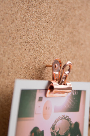 closeup of metal pin clips for photos