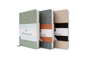 Three colours of linen coloured notebooks by Good Design Works
