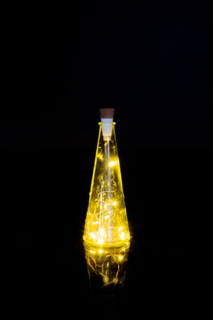 String of LED lights in an empty glass bottle