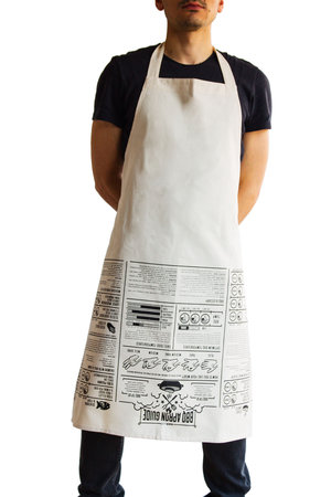 one size cooking apron in white