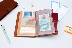 Open faux leather travel notebook