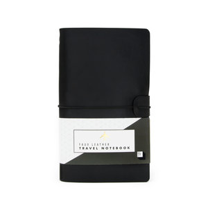 Black faux leather notebook in pack
