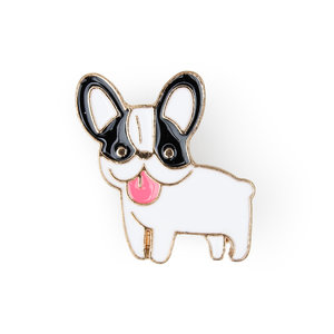 Enamel black and white french bulldog pin for jackets lapel