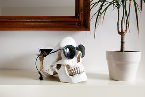 black skull head decoration with sunglasses