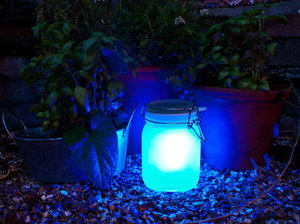blue garden light at night