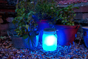 blue garden lights at night in UK