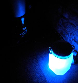 blue sunjar on floor