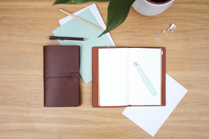 Novelty faux leather travel diary and journal