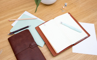 Brown faux leather travel notebooks