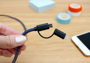 Sleek blue jeans style charger for friends and workmates