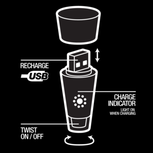 Diagram showing Bottle Light parts. Recharging USB Plug. Charging indicator. LED.
