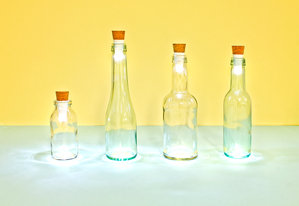 Original white Bottle Lights in fancy glass bottles