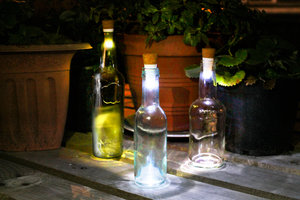 Bottle Lights look great outdoors in the garden at night