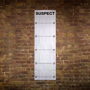 Mugshot height chart on a brick wall with feet and inches