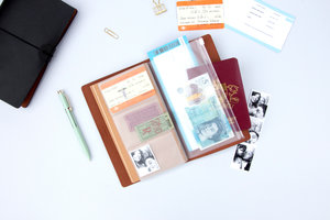Leather travel book from above with tickets
