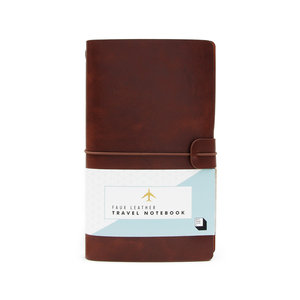 Brown faux leather notebook in packaging