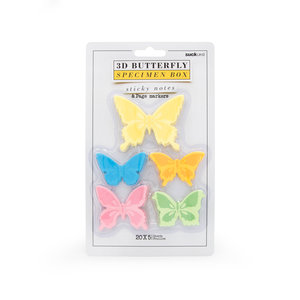3D Butterfly specimen box of sticky notes in packaging