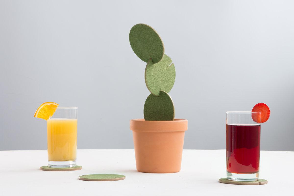 cactus coaster cork create cacti out of interlocking drink mats
