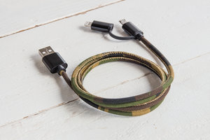 Camouflage portable USB phone cable iphone and micro USB