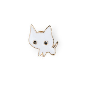 Stylized white enamel cat pin cat loving gift for any occasion