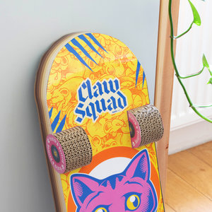 Close up view of cat skateboard