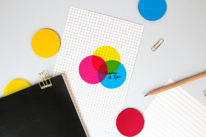 CMYK Transparent sticky notes, three colours 150 notes