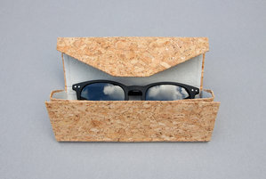 Cork sunglasses case on grey background