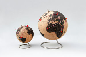 cork globe for table with white background
