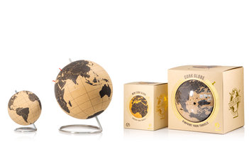 cork globe packaged in front of white background