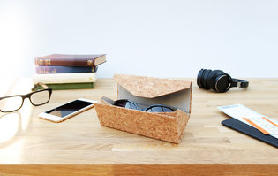 Cork glasses or sunglasses case, folds flat with a soft lining