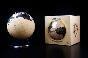 cork world map in packaging