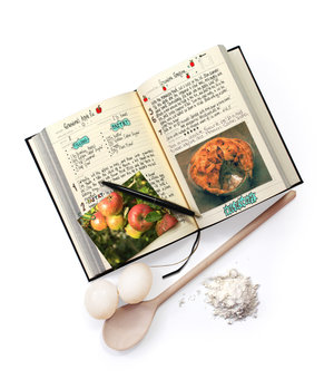 My Family Cook Book. Add your own favourite recipes. shown with eggs, flour and a wooden spoon.