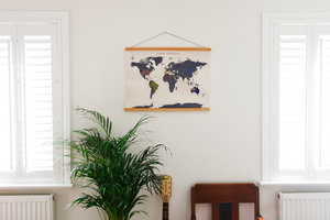 cross stitch map with tropical plant and guitar